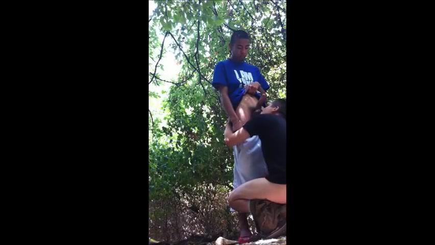 Tijdens dat homo cruising in het park komt deze homo een buitenkansje tegen.  hij mag een hetero zwarte pijpen.  nu zuigt hij in het park aan een verrukkelijke enorme neger lul.