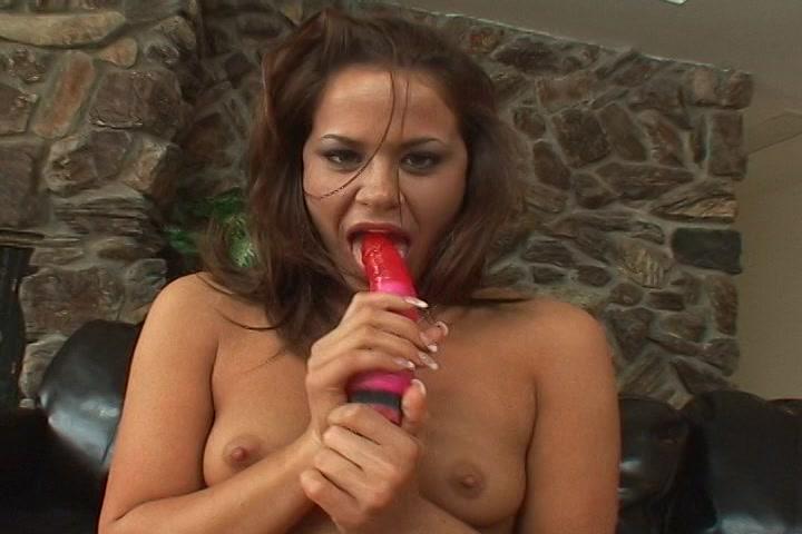 nadat zei met de kunst lul heeft gemastubeerd totdat zij een climax heeft gekregen likt ze de vibo af.